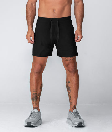 Born Tough Plain 7 Inch Inseam Crossfit Workout Shorts For Men Black