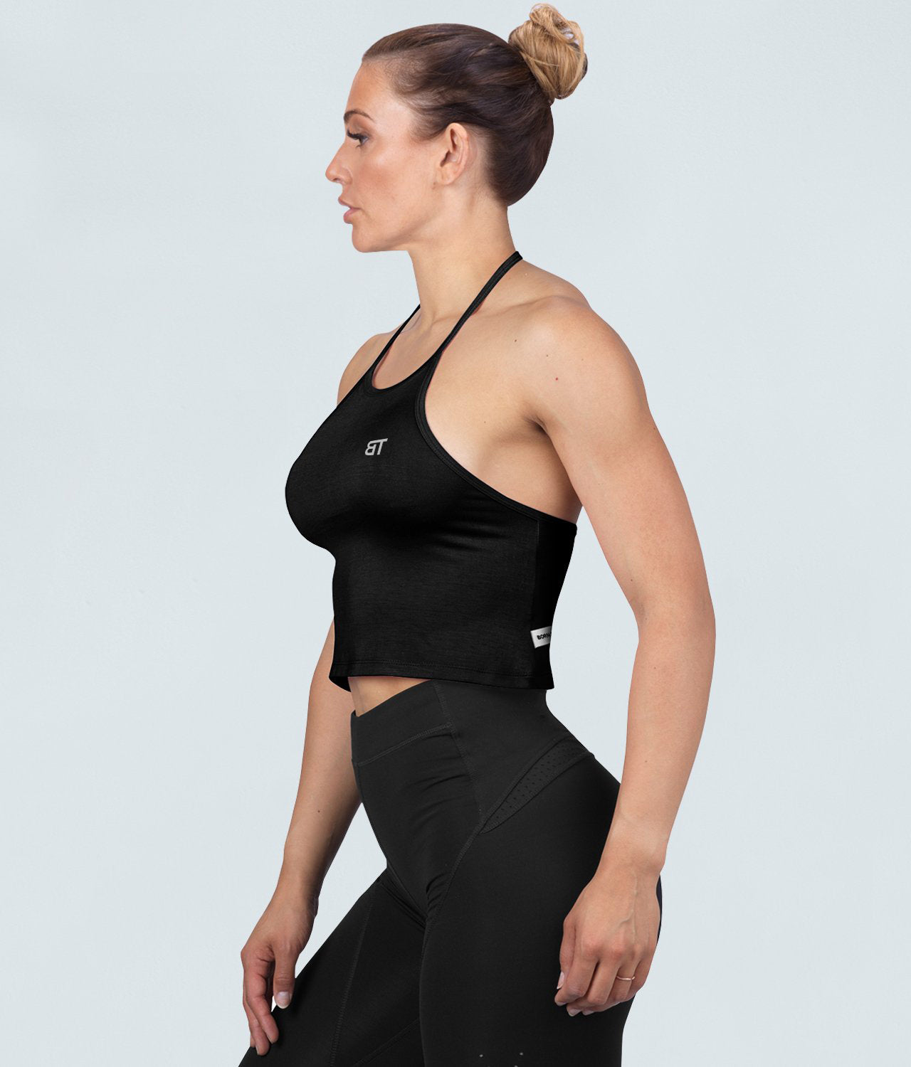 Born Tough Core Extended Scallop Hem Black Sheer Halter Gym Workout Top for Women