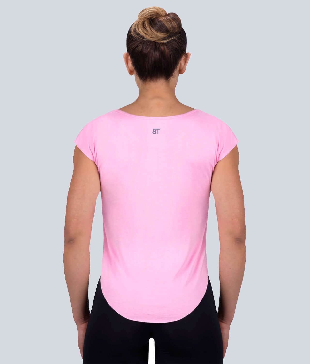 Born Tough Capped Sheer Accentuated Seams Pink Sleeveless Gym Workout Shirt for Women