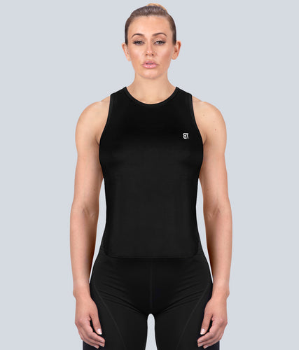 Born Tough Limitless Muscle Flexible Fabric Black Sheer Gym Workout Tank Top for Women