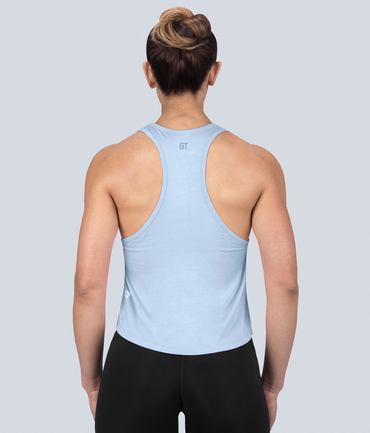 Born Tough Limitless Lightweight Soft Material Blue Sheer Gym Workout Tank Top for Women