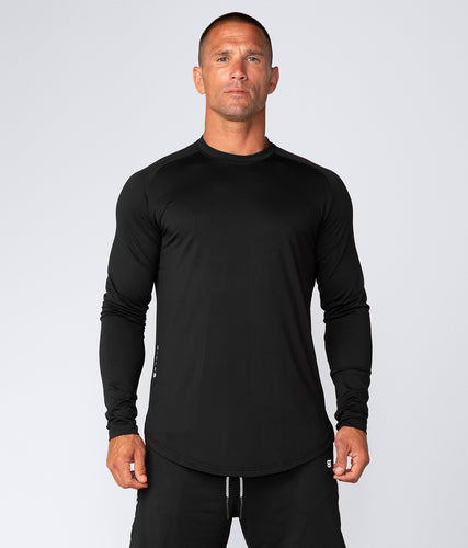 Born Tough Air Pro™ Honeycomb Mesh Long Sleeve Fitted Tee Gym Workout Shirt For Men Black