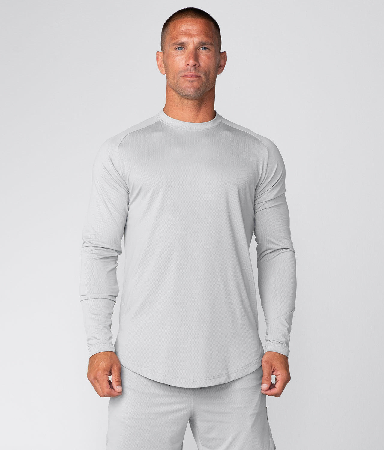 Born Tough Air Pro™ Honeycomb Mesh Long Sleeve Fitted Tee Gym Workout Shirt For Men Steel Gray