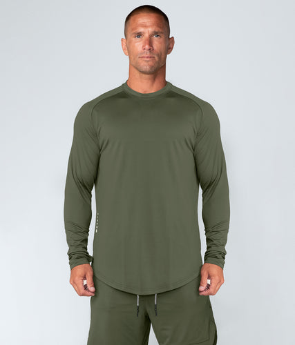 Born Tough Air Pro™ Honeycomb Mesh Long Sleeve Fitted Tee Gym Workout Shirt For Men Military Green