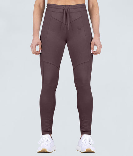 Born Tough Contoured Flexible Fabric Ash Brown Gym Workout Tracksuit Jogger Leggings for Women