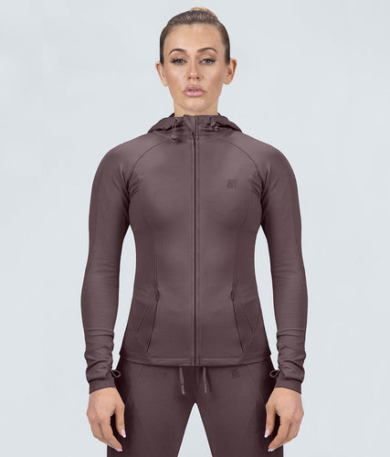 Born Tough Contoured Ash Brown Adjustable Sleeve Loops Gym Workout Tracksuit Hoodie for Women