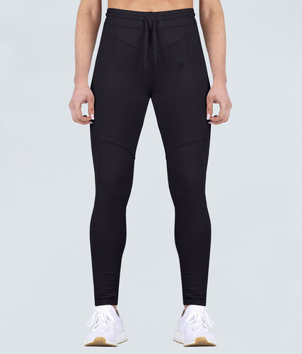 Born Tough Contoured Flexible Fabric Black Gym Workout Tracksuit Jogger Leggings for Women