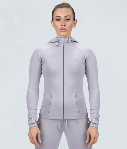 Born Tough Contoured Gray Adjustable Sleeve Loops Gym Workout Tracksuit Hoodie for Women