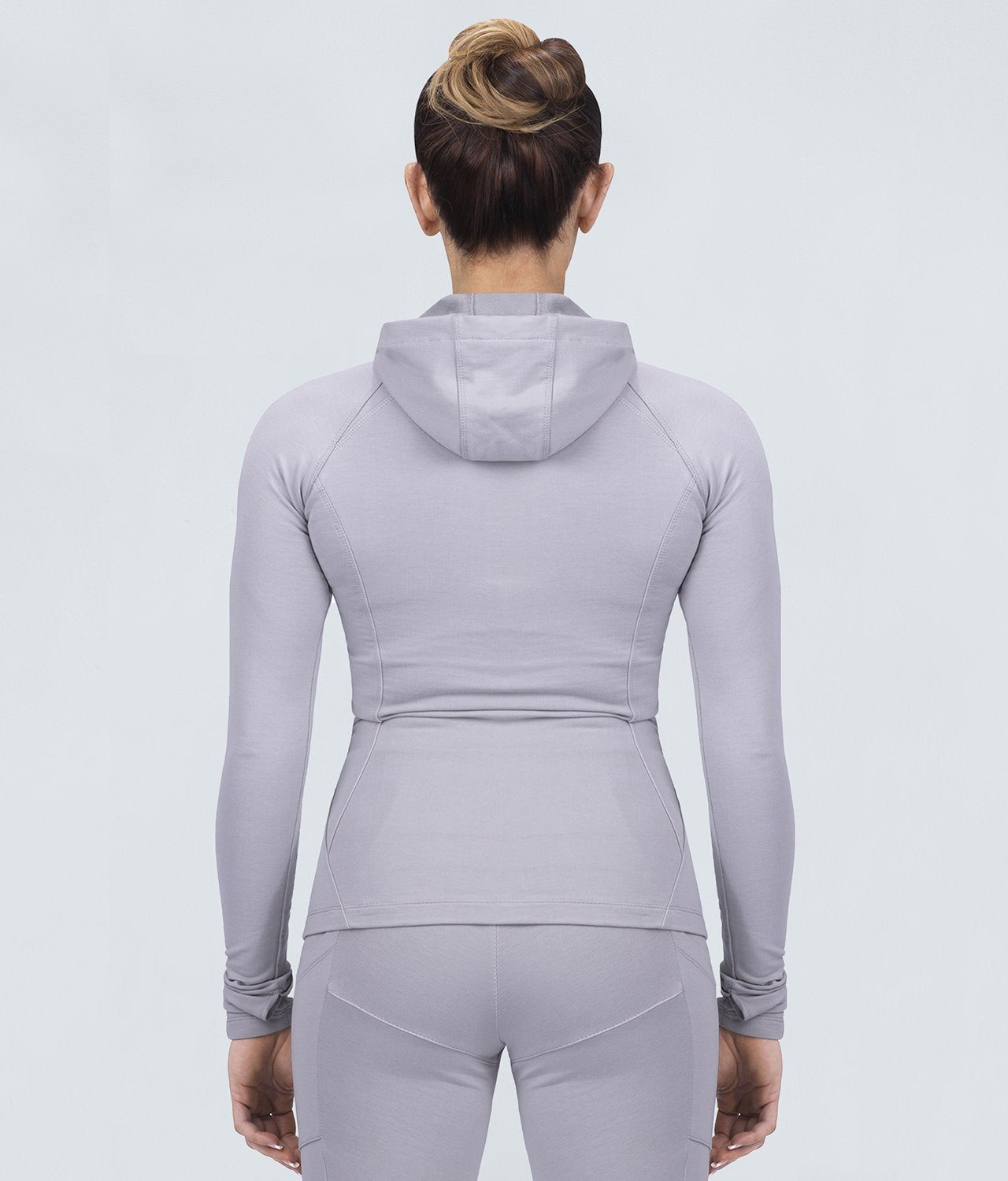 Born Tough Contoured Gray Zippered Closure Sleeve Loops Gym Workout Tracksuit Hoodie for Women