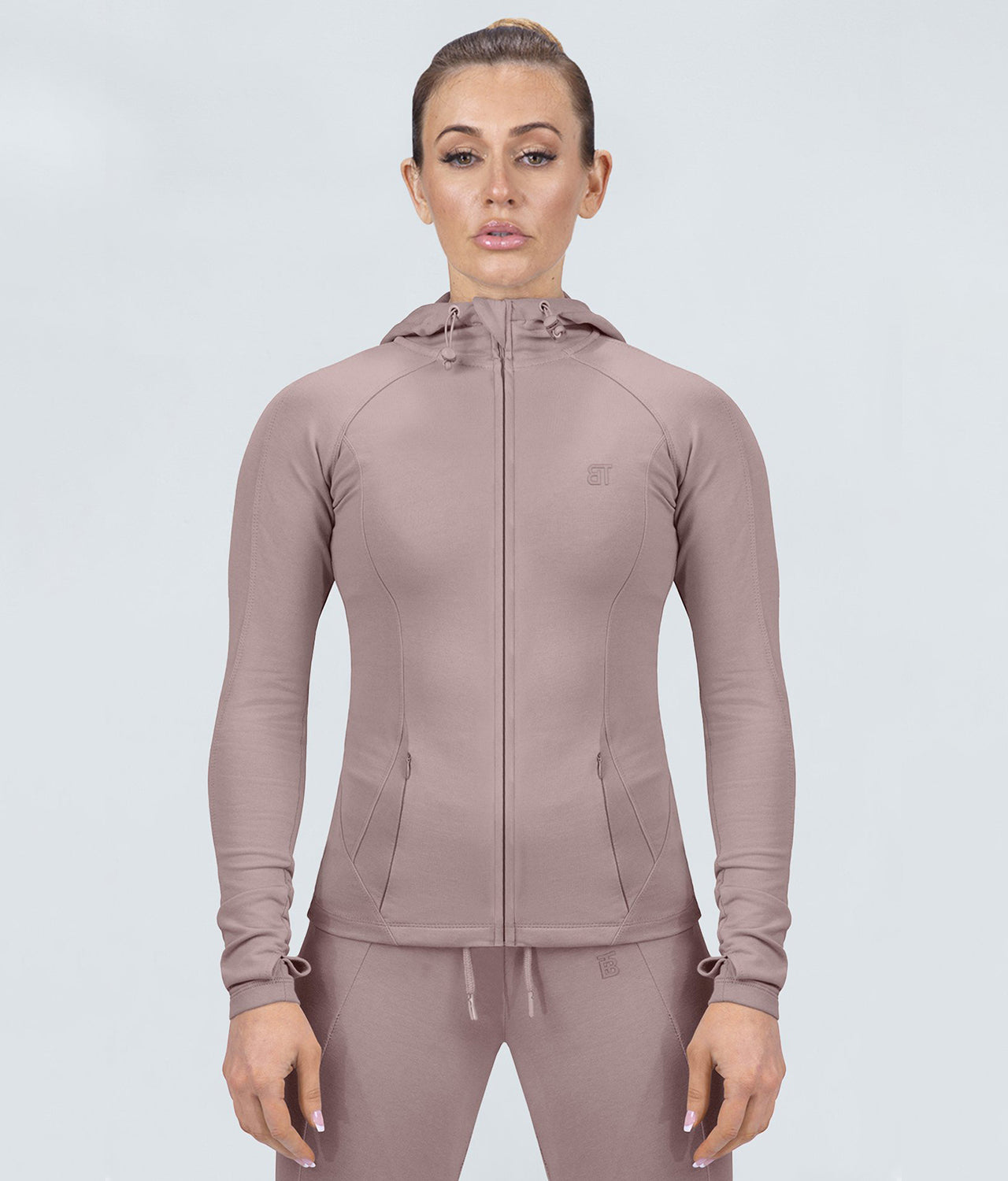 Born Tough Contoured Rose Adjustable Sleeve Loops Gym Workout Tracksuit Hoodie for Women