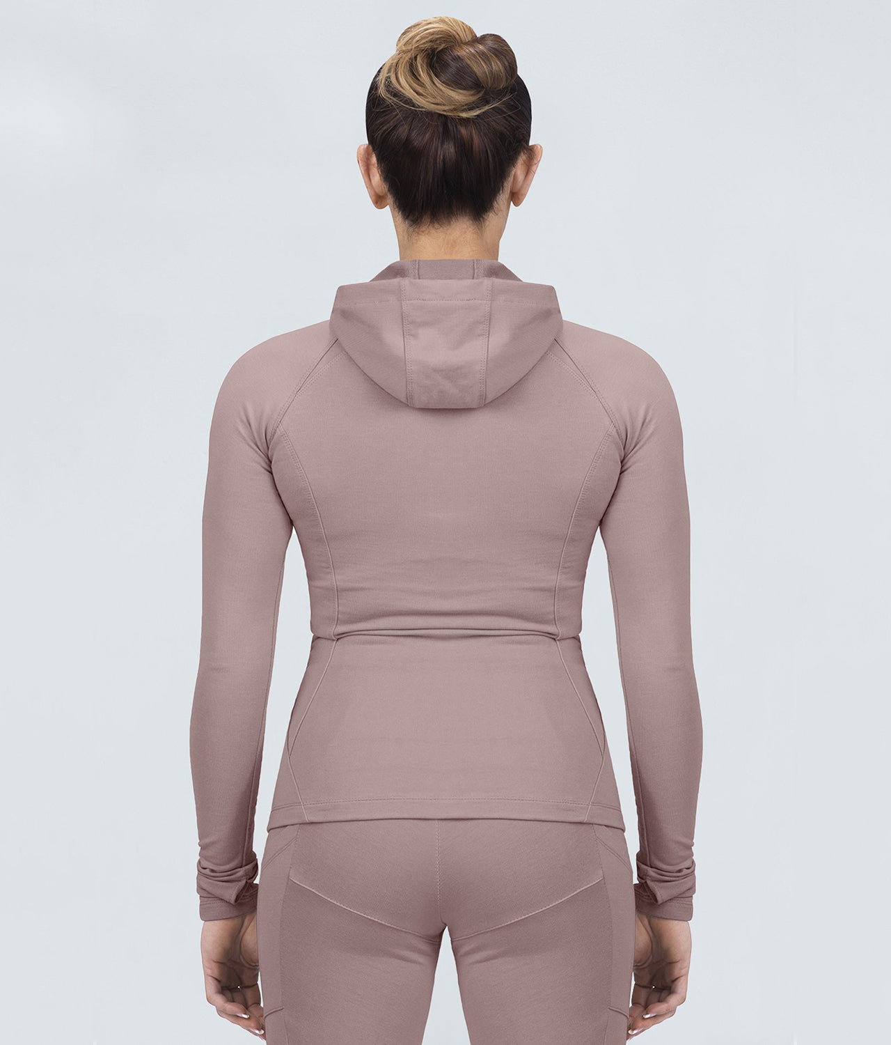 Born Tough Contoured Rose Zippered Closure Sleeve Loops Gym Workout Tracksuit Hoodie for Women