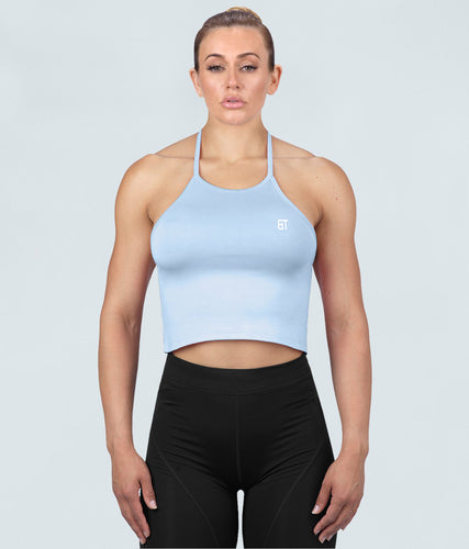 Born Tough Core Flexible Fabric Blue Sheer Halter Gym Workout Top for Women