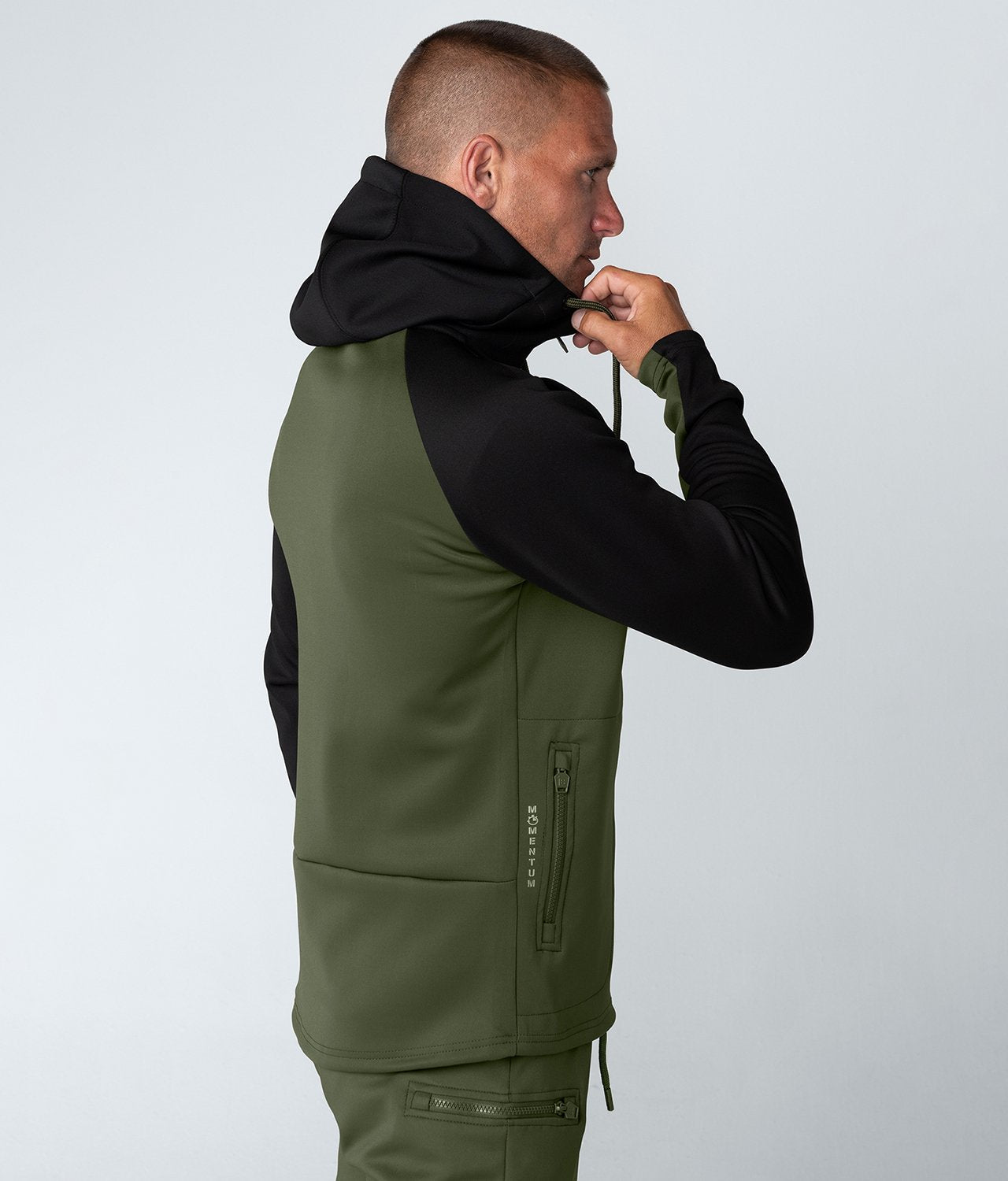 Born Tough Momentum High-Quality Zipper Drawstrings Green/Black Gym Workout Hoodie for Men