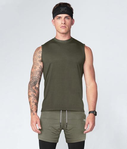 Born Tough Army Green Curved Hems Sleeveless Gym Workout Shirt For Men