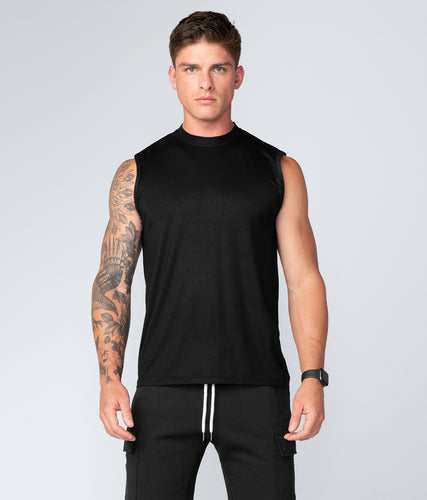 Born Tough Black Curved Hems Sleeveless Gym Workout Shirt For Men
