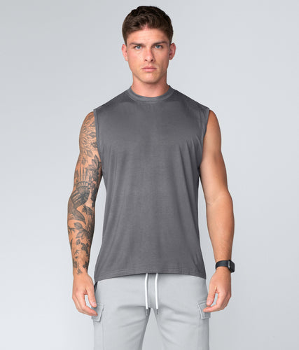 Born Tough Gray Curved Hems Sleeveless Gym Workout Shirt For Men
