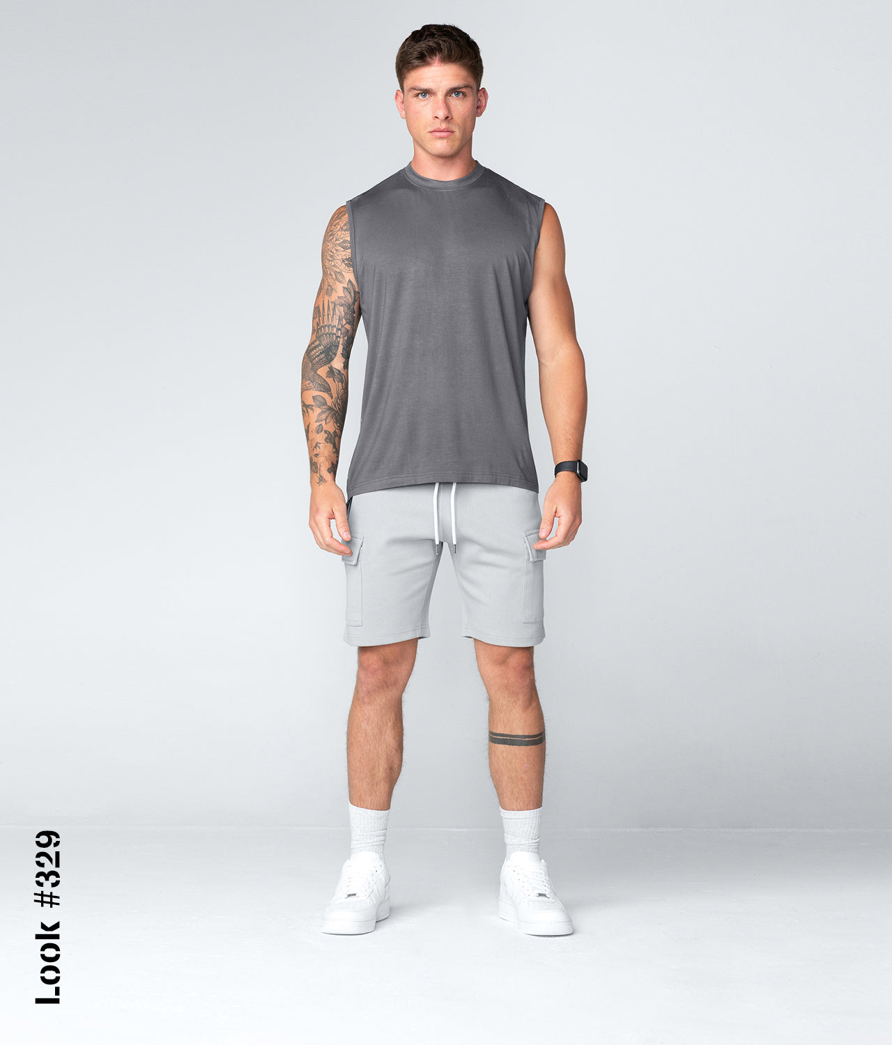 Born Tough Gray Mock Neck Sleeveless Gym Workout Shirt For Men