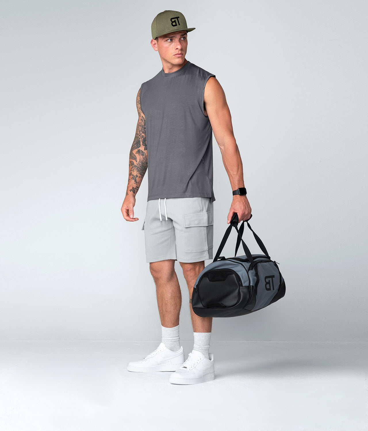 Born Tough Gray Ultrasoft Sleeveless Gym Workout Shirt For Men