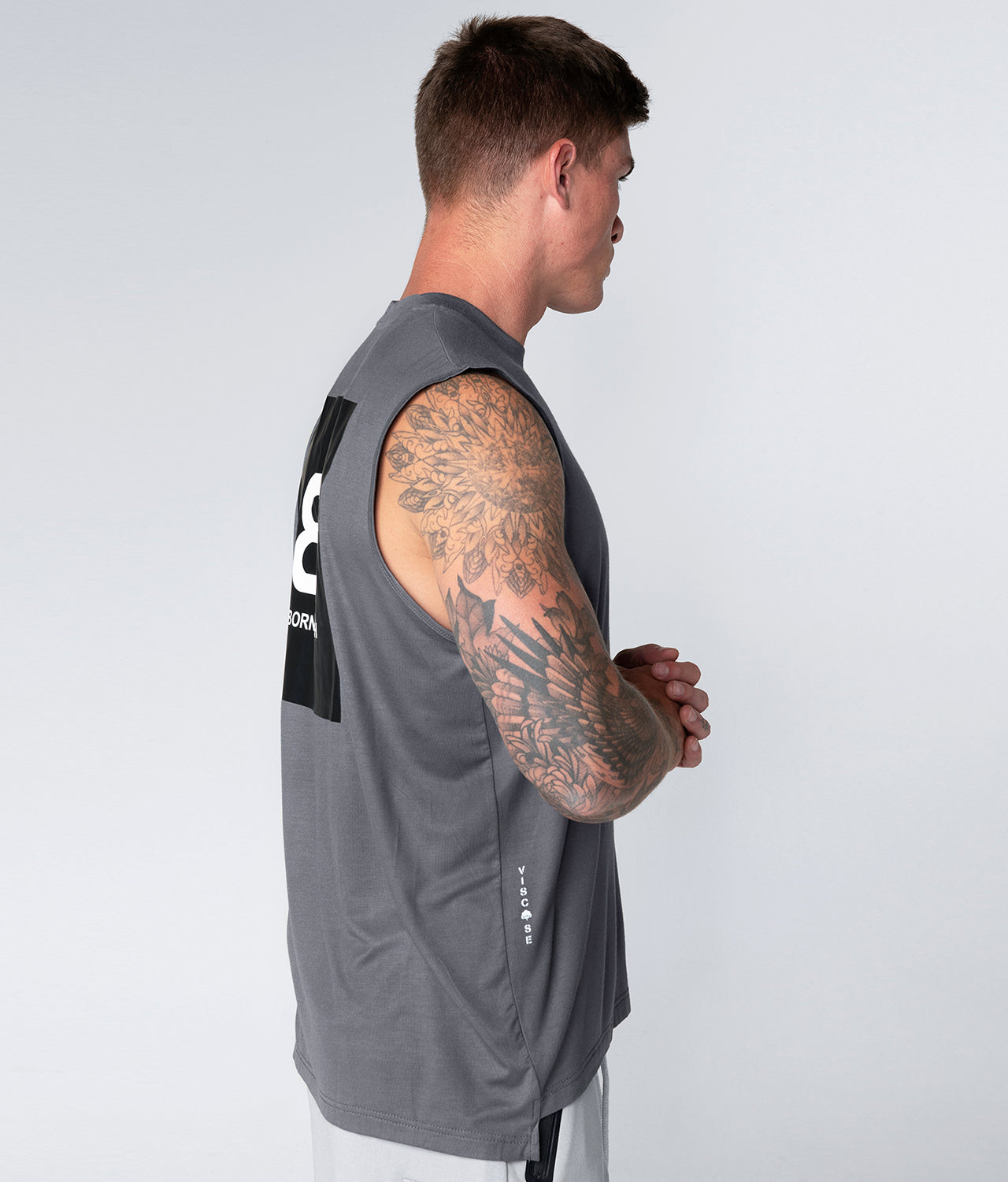 Born Tough Gray Stretchable Sleeveless Gym Workout Shirt For Men