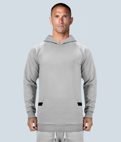 Born Tough Zippered Gray Signature Tech Fabric Long Sleeve Running Hoodie for Men