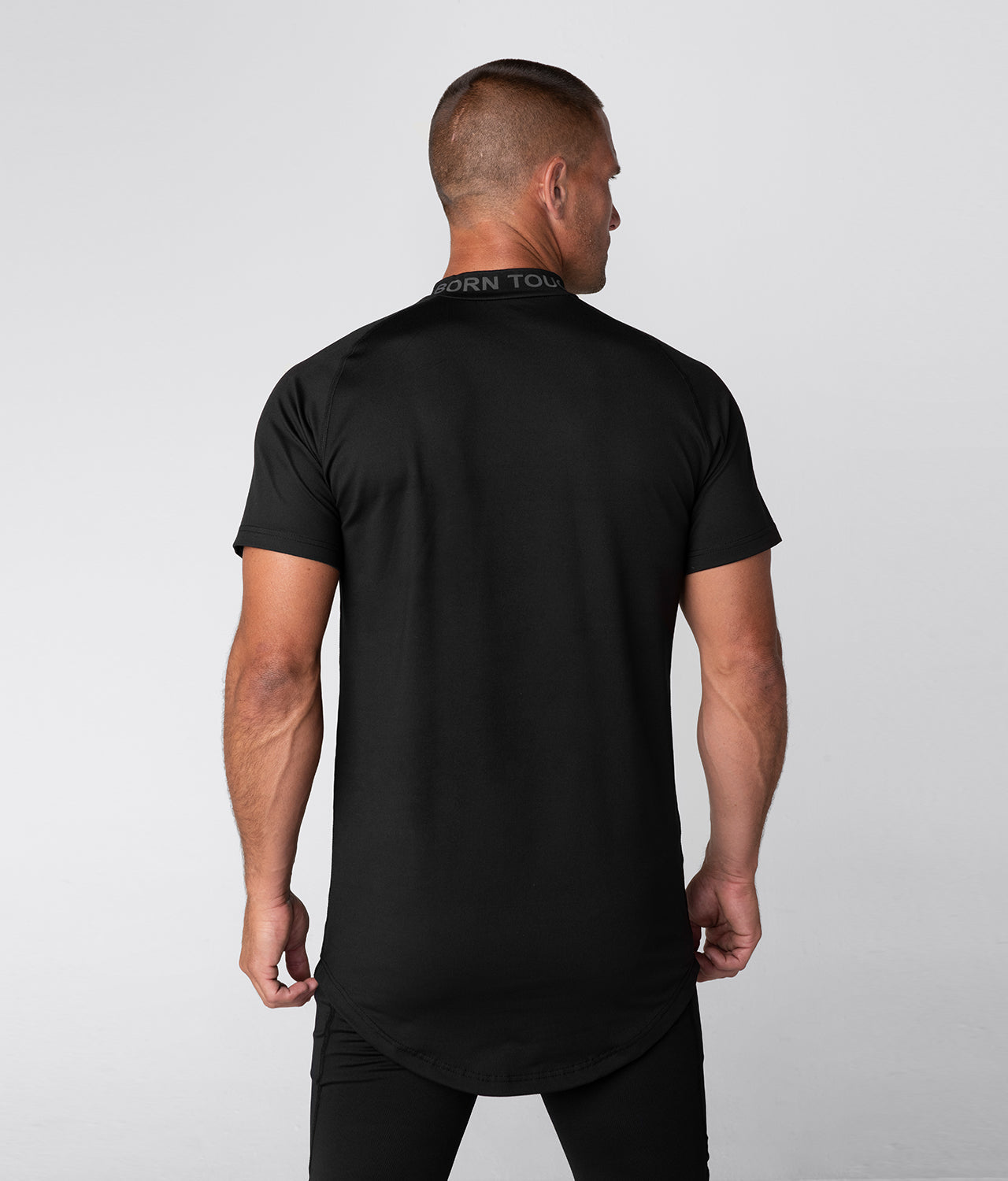 Born Tough Mock Neck Longitudinal Elasticity Short Sleeve Compression Gym Workout Shirt For Men Black