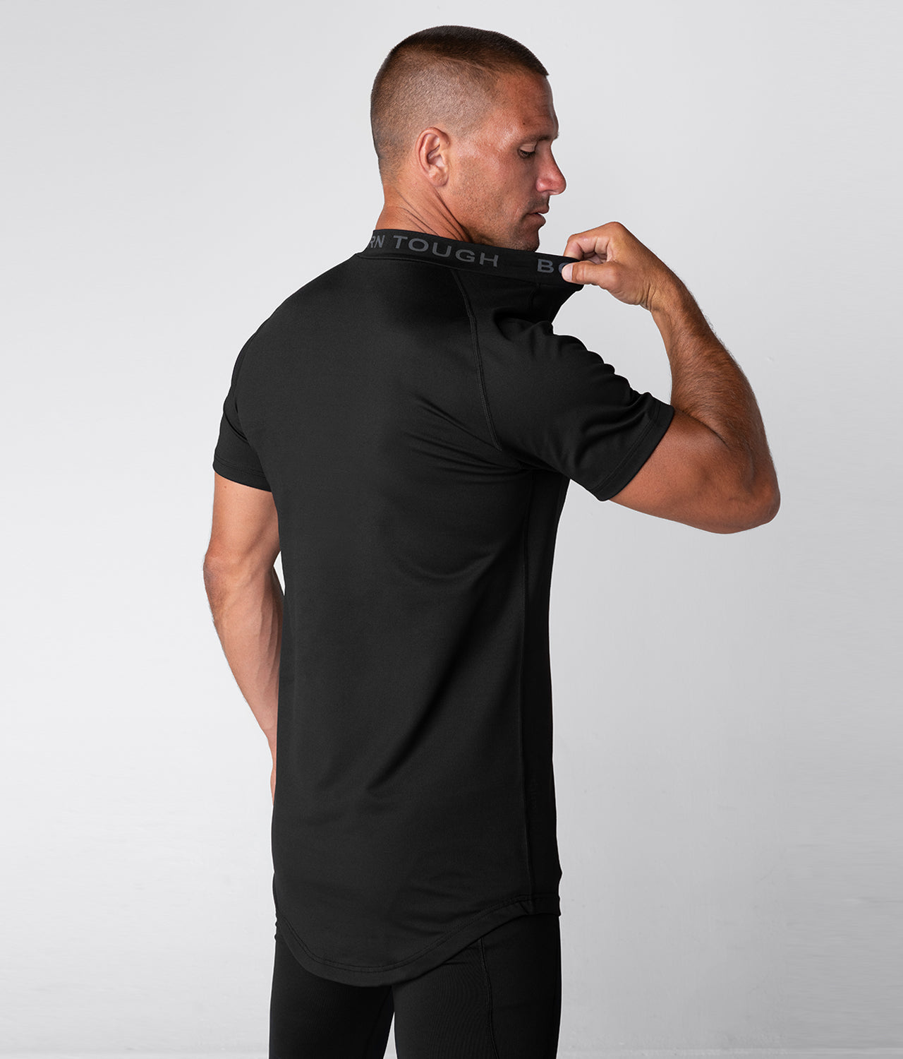 Born Tough Mock Neck Extended curve hem  Short Sleeve Compression Gym Workout Shirt For Men Black