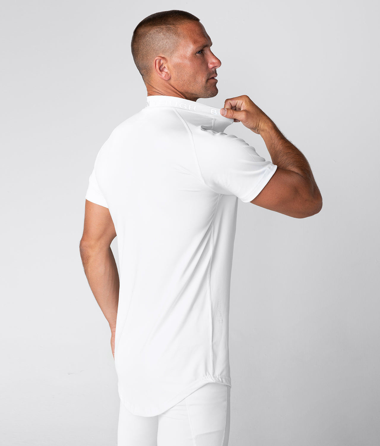 Born Tough Mock Neck Extended curve hem  Short Sleeve Compression Gym Workout Shirt For Men White