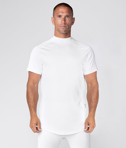 Born Tough Mock Neck Elegant Fitting Short Sleeve Compression Gym Workout Shirt For Men White