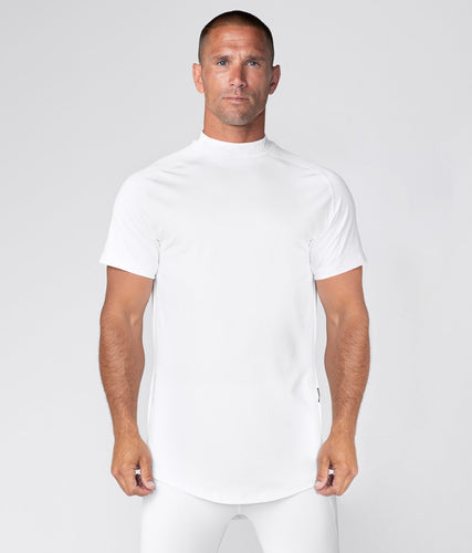 Born Tough Mock Neck Short Sleeve Compression Running Shirt For Men White
