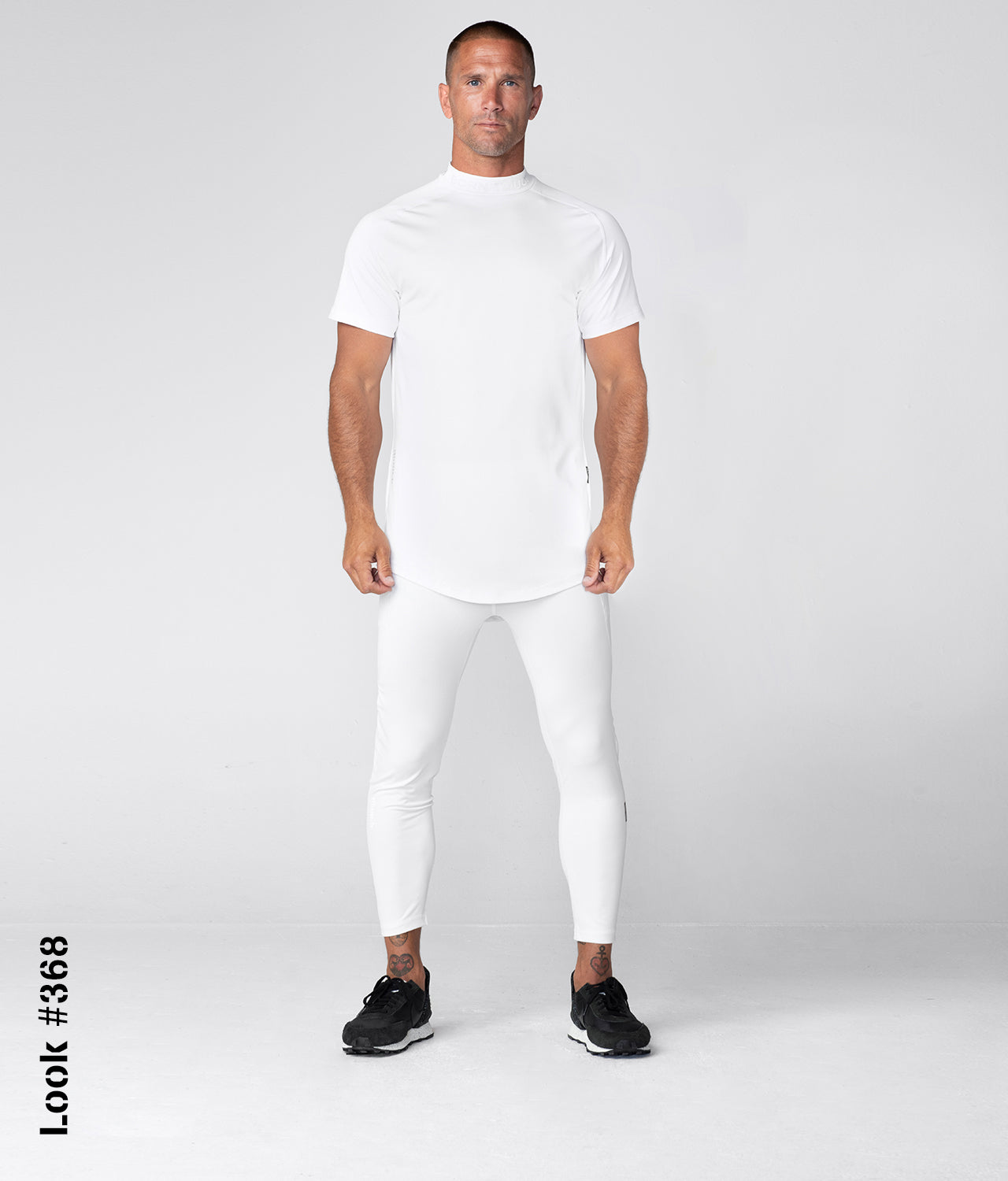 Born Tough Mock Neck High-Performance Short Sleeve Compression Gym Workout Shirt For Men White