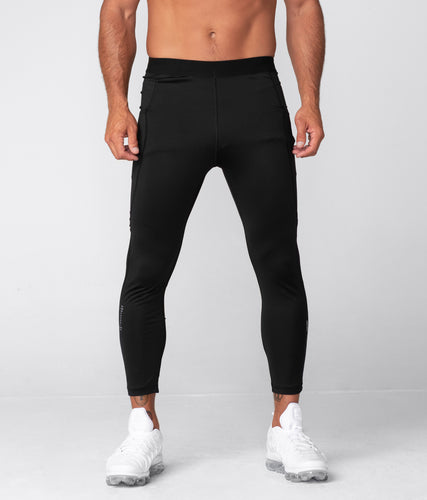 Born Tough Side Pockets Compression Signature Elastane Blend Gym Workout Pants For Men Black