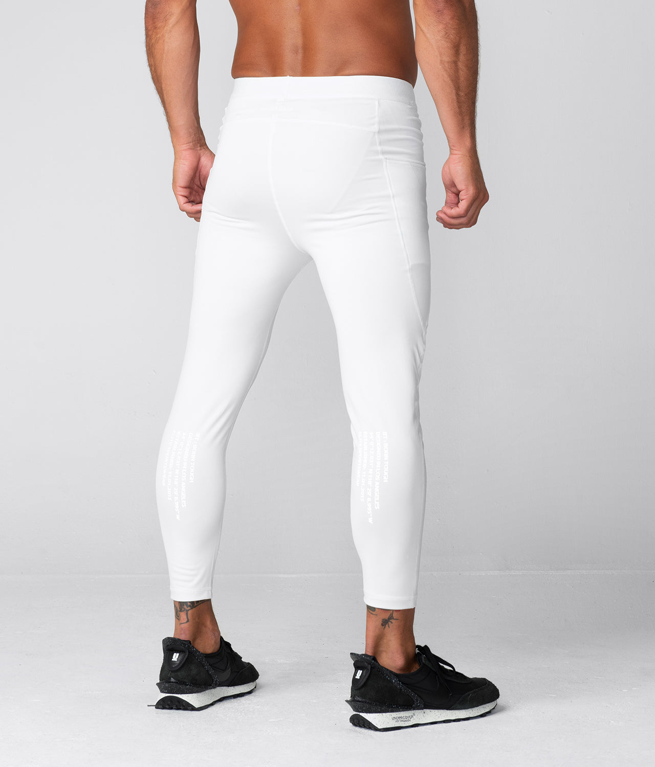 Born Tough Side Pockets Compression Maximum Performance Gym Workout Pants For Men White