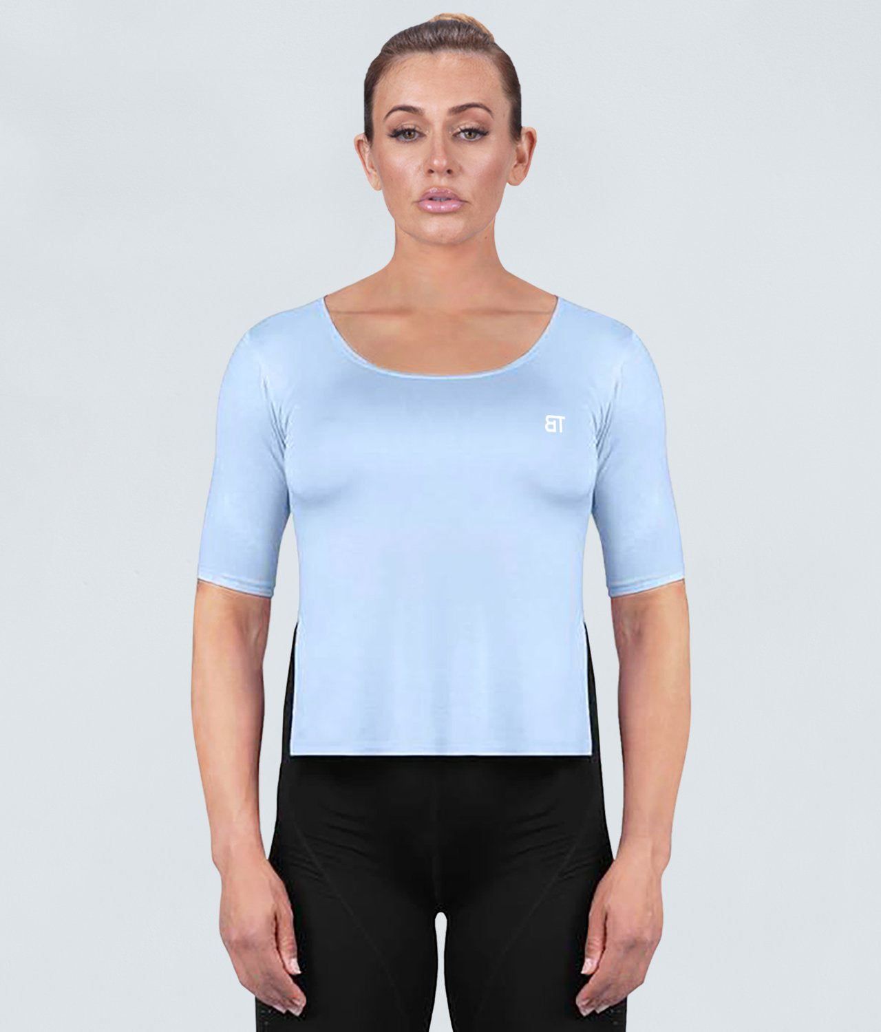 Born Tough True Form Sheer Flexible Fabric Blue Short Sleeve Gym Workout Shirt for Women