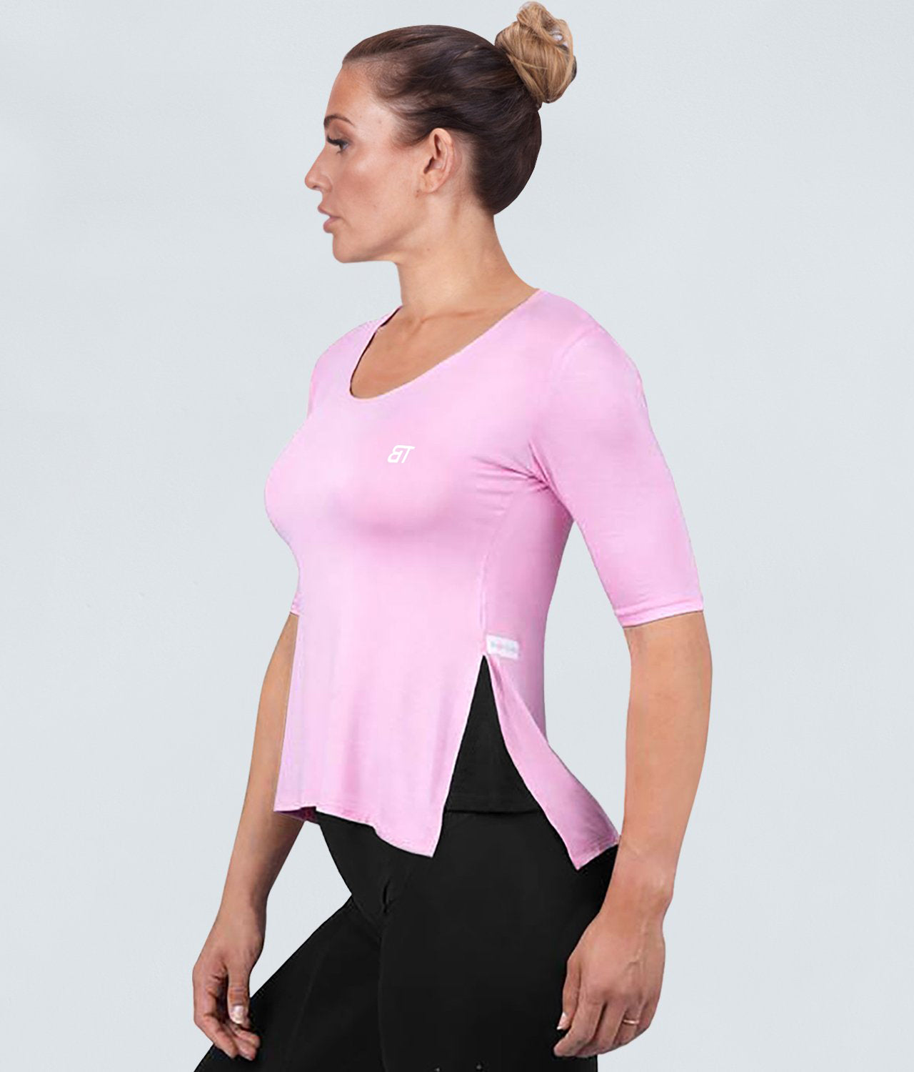 Born Tough True Form Sheer Extended Front & Back Hem Pink Short Sleeve Gym Workout Shirt for Women