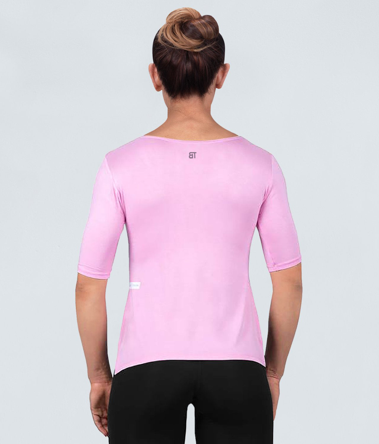 Born Tough True Form Sheer Sleeve loops Pink Short Sleeve Gym Workout Shirt for Women