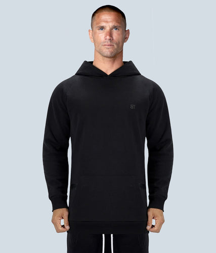 Born Tough Zippered Black Signature Tech Fabric Long Sleeve Running Hoodie for Men