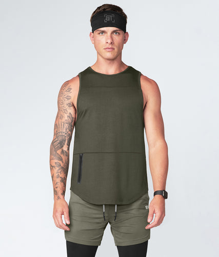 Born Tough Zippered Military Green Signature Blend Bodybuilding Tank Top for Men