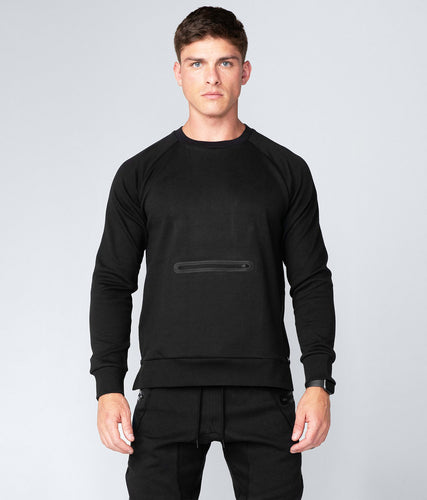 Born Tough Drop Pocket Black Crewneck Running Sweatshirt for Men