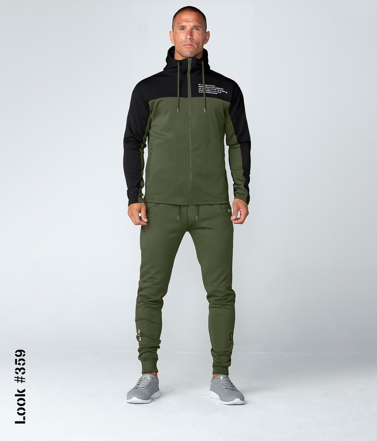 Born Tough Men Momentum Track Suit Hoodie Green/Black