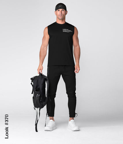 Born Tough Momentum Double Cotton Blend Sleeveless Fitted Tee Gym Workout Shirt For Men Black