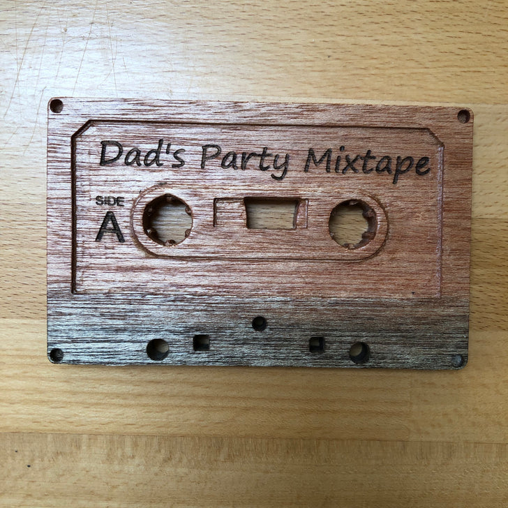 Fun personalised wooden cassette tape - coaster or ornament