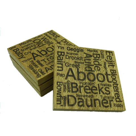 Wooden coasters - Scottish dialect with English translations - set of four