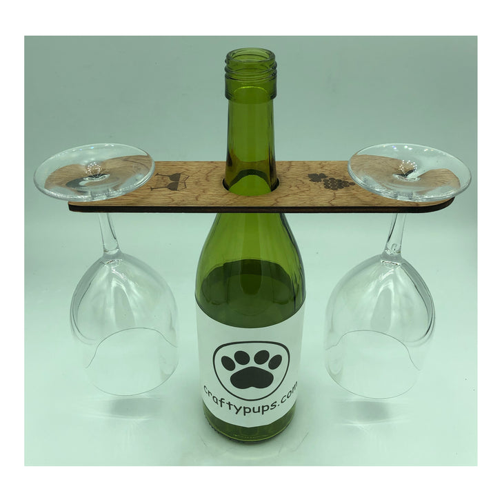 Wooden wine glass holder for two glasses
