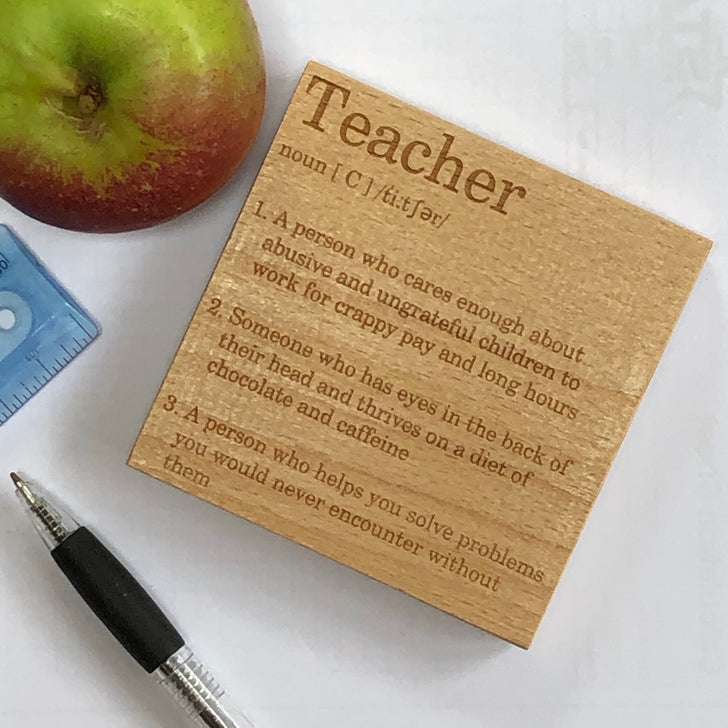 Wooden coaster - occupation - teacher
