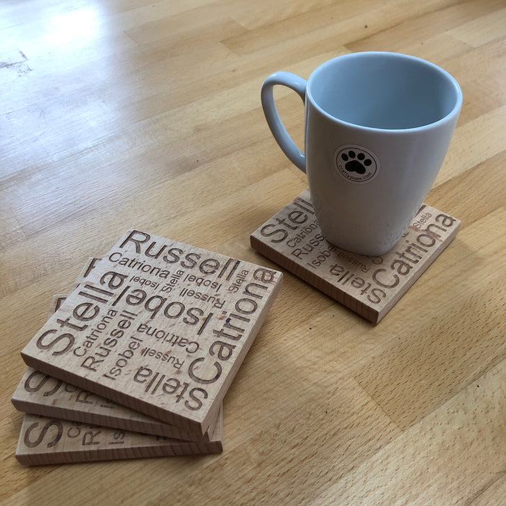 Wooden coaster - personalised word map - set of 4