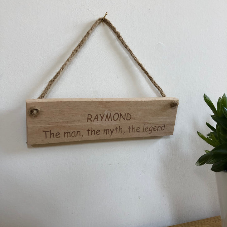 Personalised wooden hanging plaque