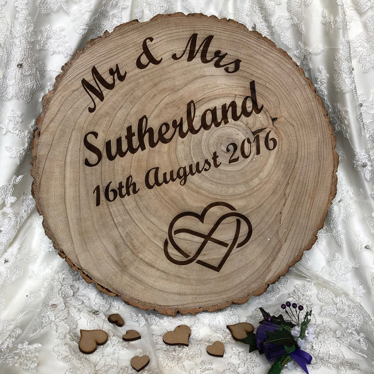 Personalised rustic wooden wedding platter