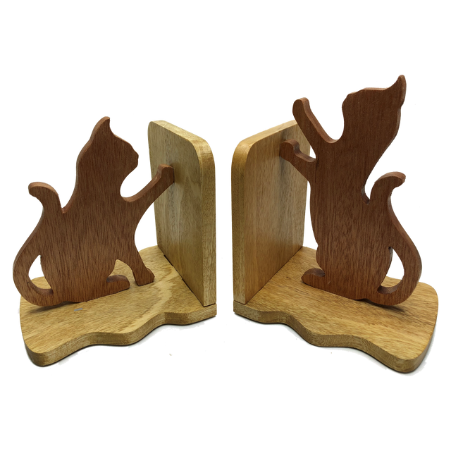 Cat bookends - pair of cats, one seated, one playing