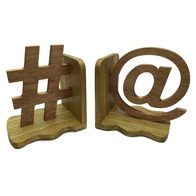 Social media bookends - # and @ one on each side