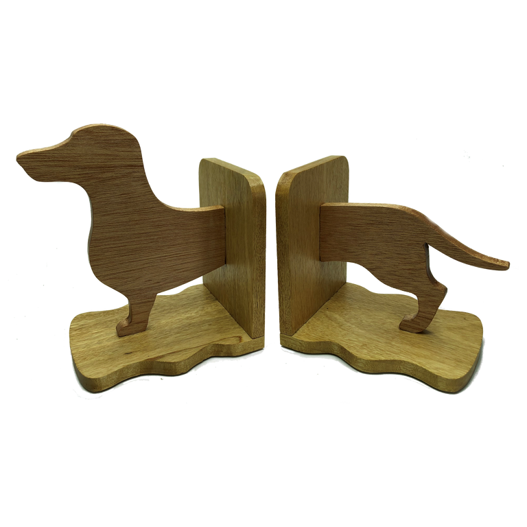 Dachshund sausage dog bookends - front half on one side, back half on the other